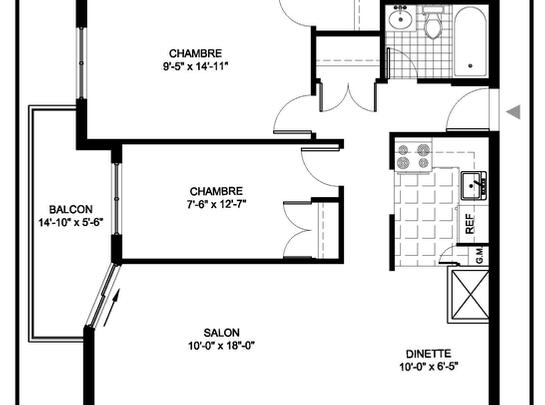 Maison de retraite pour personnes âgées semi-autonomes 2 Chambres a louer à Montreal-Nord a Residences Du Confort - Plan 01 - PagesDesLocataires – L19538