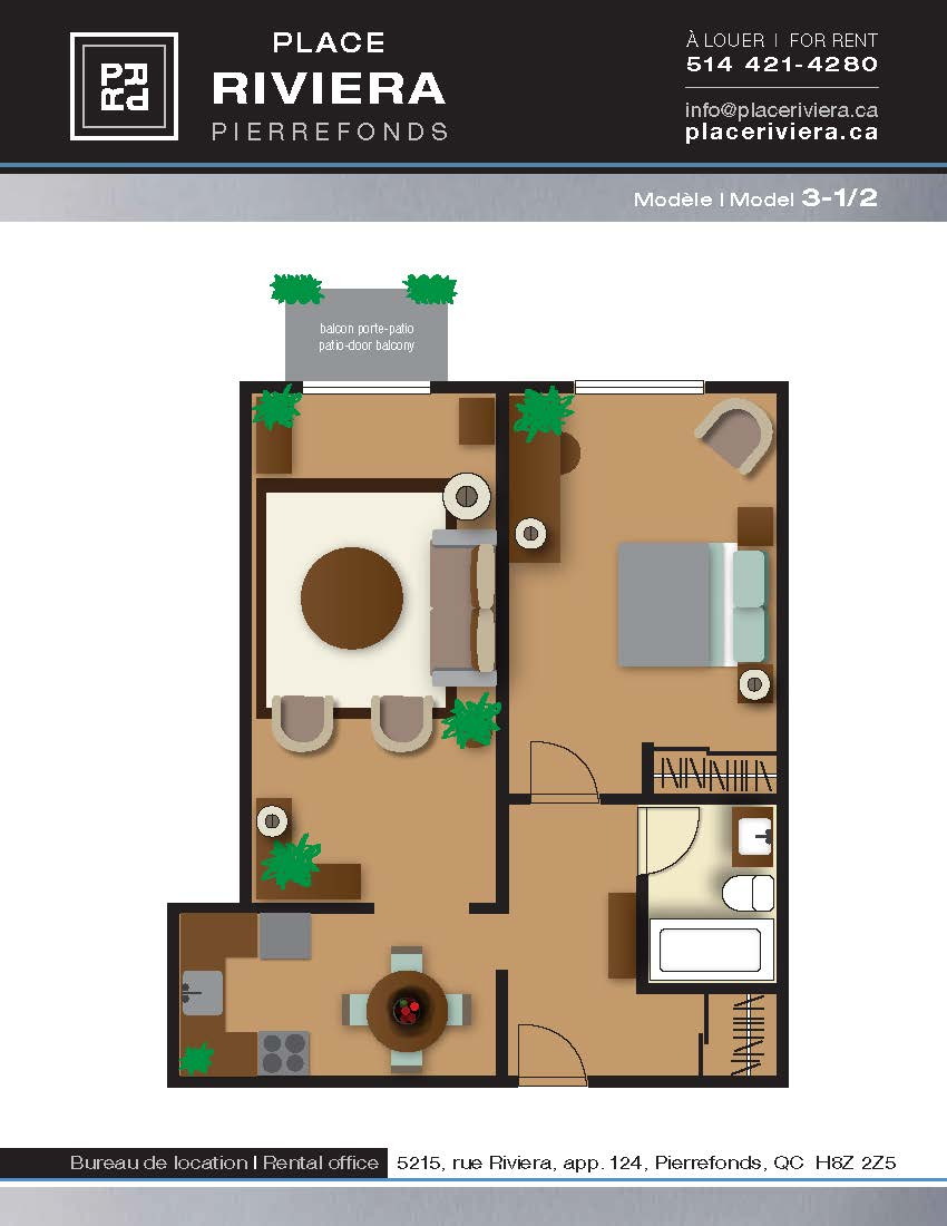 Appartement 1 Chambre a louer à Pierrefonds-Roxboro a Place Riviera - Plan 01 - PagesDesLocataires – L35788