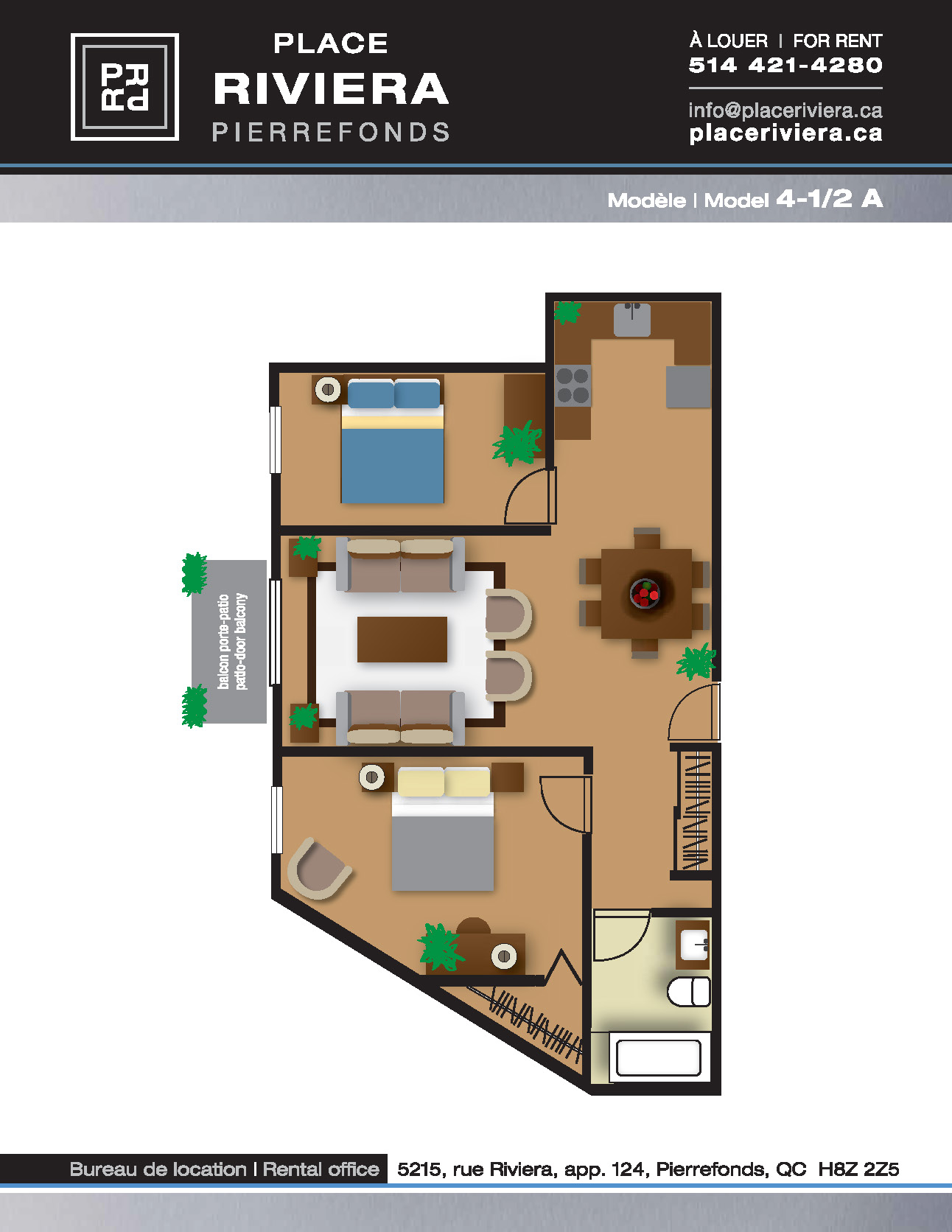 Appartement 2 Chambres a louer à Pierrefonds-Roxboro a Place Riviera - Plan 12 - PagesDesLocataires – L35796